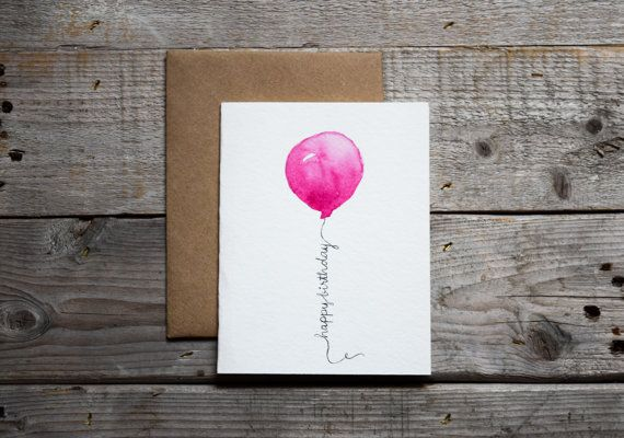 Hand-painted watercolor Happy Birthday Card.