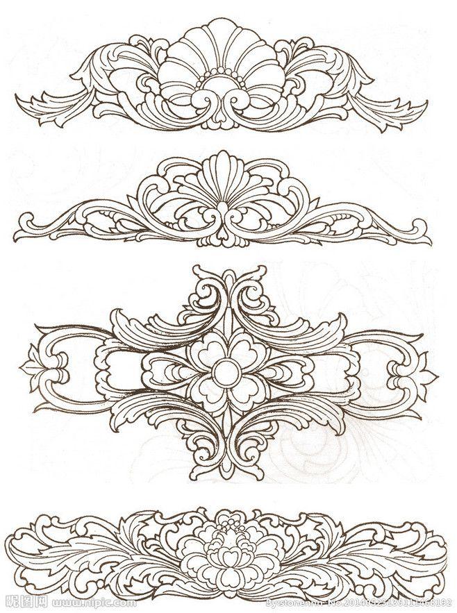중국어 나무 조각 패턴