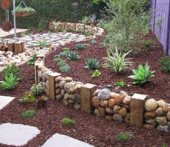 how to build a planter with gabion wall