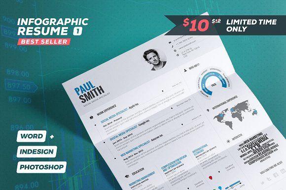 Infographic Resume/Cv Vol. 1 by TheResumeCreator on @creativemarket