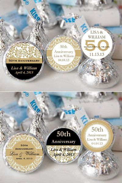 Anniversary Party Favors | Beautifully eye-catching, our ANNIVERSARY Hershey's Kisses labels are ...