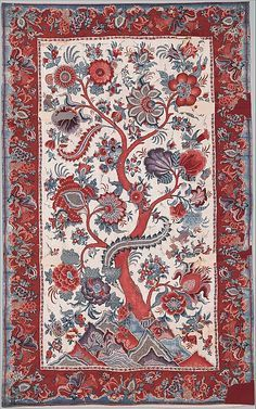 Palampore  Date:ca. 1730Culture:India (for Sri Lankan market)Medium:Painted and dyed plain-weave cottonDimensions:Warp 44 9/16 in. (113.2 cm); weft 72 in. (182.9 cm)Classification:TextilesCredit Line:Purchase, Fernando Family Trust Gift, in honor of Dr. Quintus and Mrs. Wimala Fernando, 2010Accession Number:2010.337