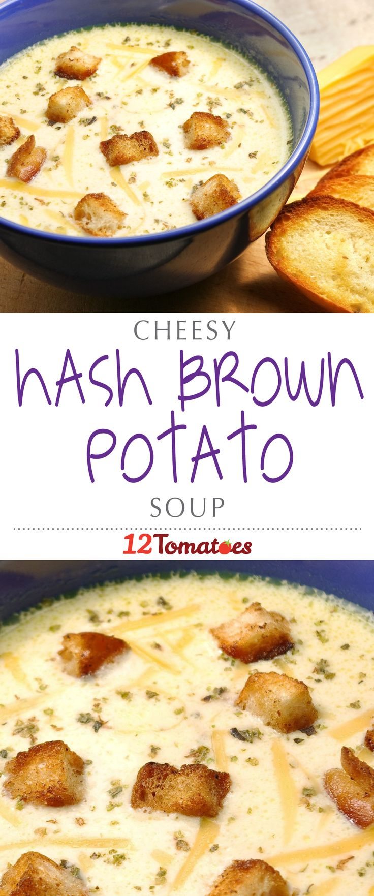 Cheesy Hashbrown Potato Soup | Using store-bought hash browns (or homemade, if you're really feeling ambitious) and lots and lots of cheese, we end up with a thick soup that warms us up and gets us excited for cold weather.