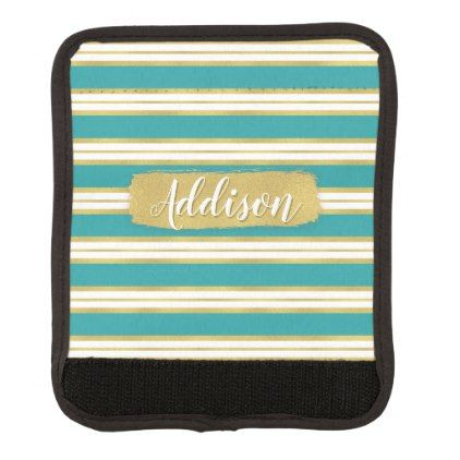 Aqua Blue Gold Stripe Pattern Custom Name Handle Wrap - girly gift gifts ideas cyo diy special unique
