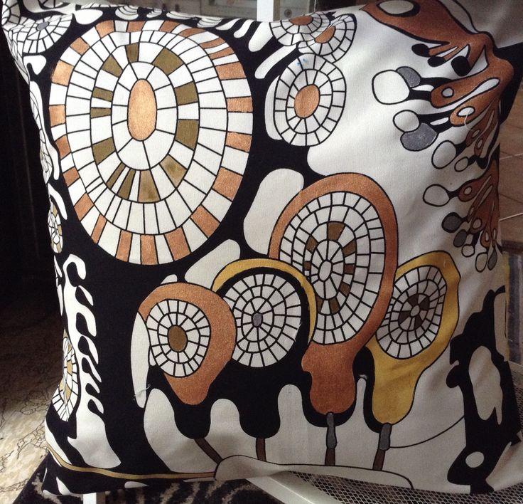 Heavy linen. Metallic paint effects, cushion