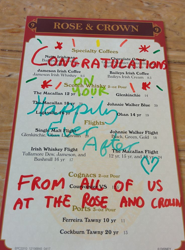 The Cast Member serving us at dinner today saw our Just Married pins and got the wait staff to write us a special message. Thank you Hannah and everyone at the Rose & Crown!