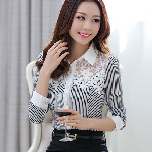 New 2016 Spring Blouses Long-sleeve Elegant Slim Striped Print Lace Patchwork Chiffon Shirt Plus Size Women Lace Tops 801C 25