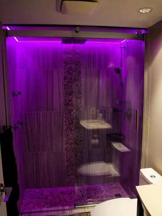 Purple LED shower lights! I love the idea of this!!