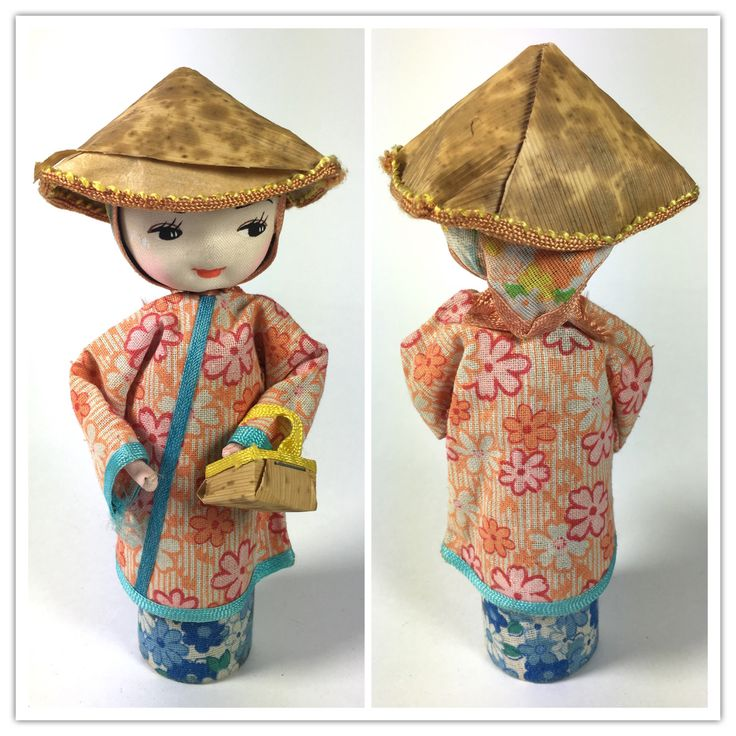 Vintage fabric Japanese face doll 13.5 cm tall probably 1950-1960s.