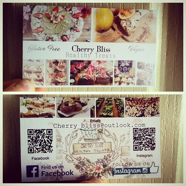 Yay! My business cards arrived! Thanks to @vistaprint :) gotta start somewhere, they even have QR codes so people can just scan it and be taken directly to my Instagram/Facebook account.  #businesscards #business #design #graphicsdesign #logo #logodesign #baking #glutenfree #sugarfree #diet #work #cherrybliss #healthyeating #vegan #veganfood #cooking #cafe #coffee #healthy #fitness #cake #qrcodes #smallbusiness #inspiration #motivation #vintage #creative
