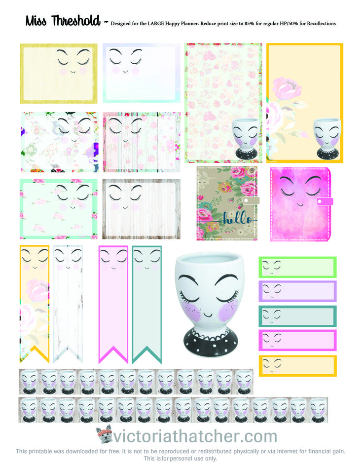Planner & Journaling Printables ❤ Free Miss Threshold Planner Stickers | Victoria Thatcher