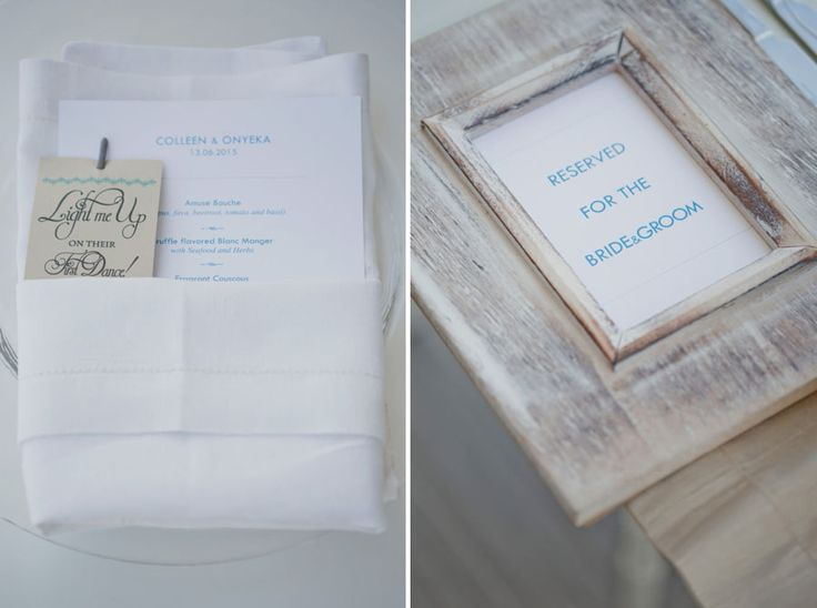 Table set up: A sparkler put on the napkins to be lit on the couple's first dance and get the party started!