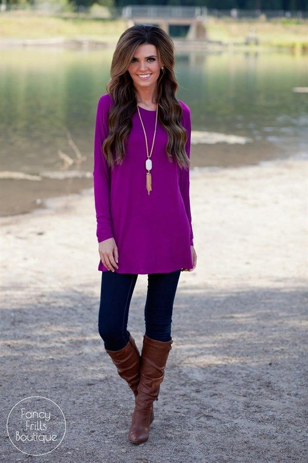 This is the perfect round neck, long sleeve tunic to go with EVERYTHING in your closet! Wear it on it's own as an adorable leggings tunic, or throw your favorite jacket or cardigan over it for a more dressed up look! It is super comfy with it's stretchy lightweight material, and is so perfect for all body types. It is a loose fit and flattering on anyone!SIZES(Runs true to size) Small 0-4Medium 4-8Large 8-12Model is wearing a size small.Rayon/Spandex
