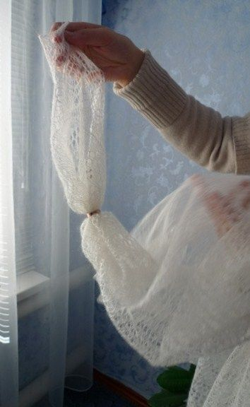 """Russian Orenburg shawl is often called """"a wedding ring shawl"""", because it is so fine, that can be pulled through a wedding ring. #folk #Russian #shawl"""