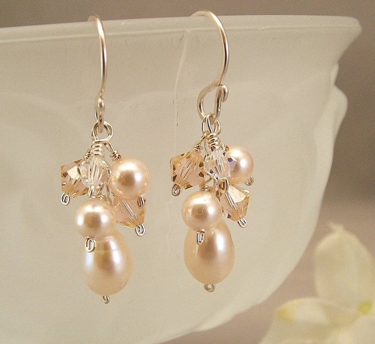 Option: Light Peach Blend Earrings, Peach Weddings, Swarovski Austrian Crystal with Ivory Pearls - Bridesmaid Earrings