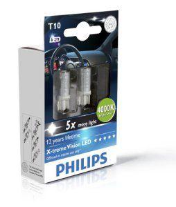 Philips 129644000KX2 Lot de 2 ampoules LED T10 X-treme Vision 4000 K 12 V (emballage carton)