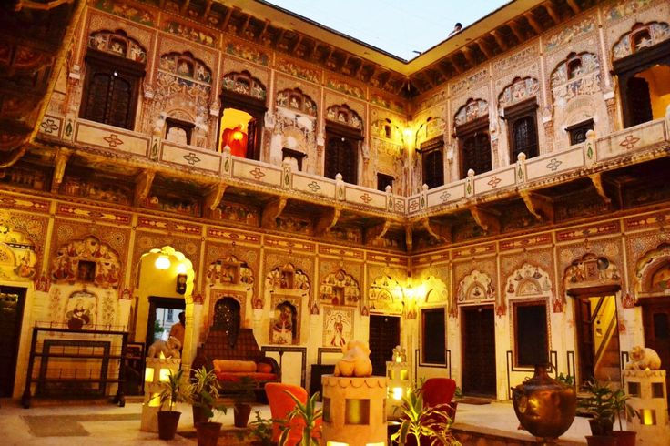 An interior courtyard of an old haveli in Mandawa, Rajasthan, North India   Indian Architecture ...