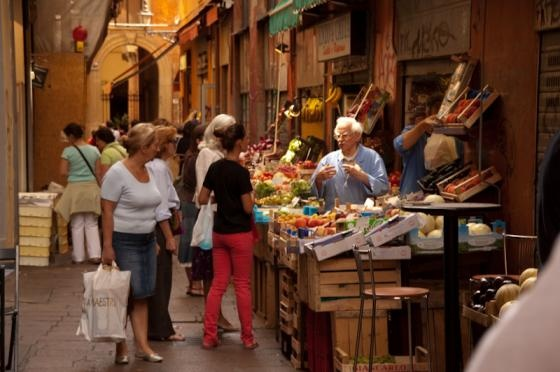 Market near central plaza in Bologna