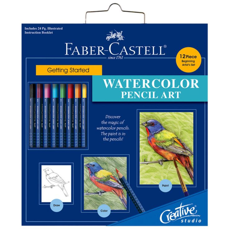 Faber-Castell® Getting Started Watercolor Pencil Art Set  This set is perfect for anyone who has ever wanted to learn how to use watercolor pencils! This set has everything you need to become a watercolor artist in no time. Use the included pencils to sketch out your design, then brush it in for a beautiful watercolor piece. Set your inner watercolor artist free, and if you need a little help, a handy instruction guide is included to help you along.