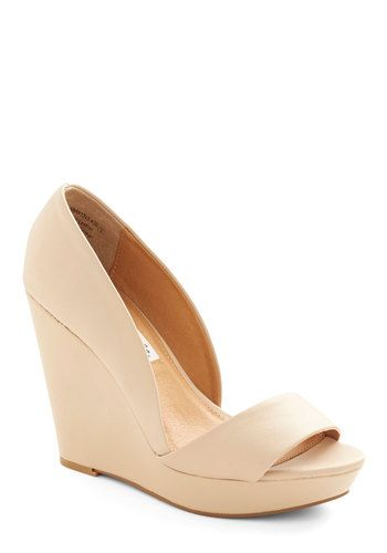 Every Day of the Chic Wedge in Beige - High, Leather, Cream, Solid, Prom, Wedding, Party, Bridesmaid, Bride, Minimal, Better, Platform, Wedg...