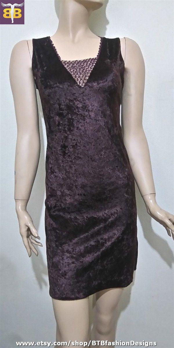Dark red brown velvet dress, crochet details brown red dress, crochet neck dress, brown velvet dress, dark red velvet dress,dark brown dress by BTBfashionDesigns on Etsy