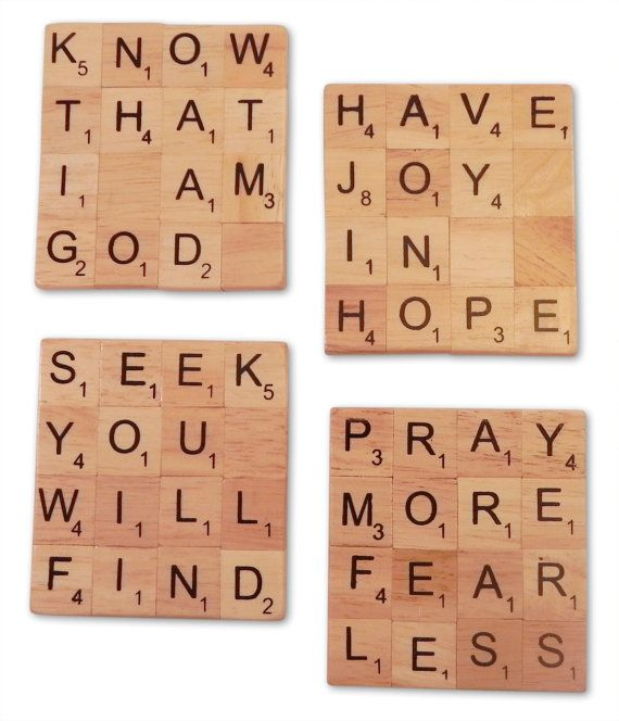Inspirational Christian Scrabble Coasters by MadeByEtched on Etsy