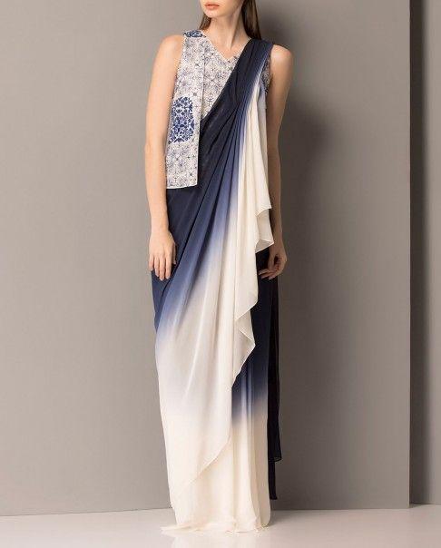 Navy and Ivory Drape Sari - AM PM - Sale