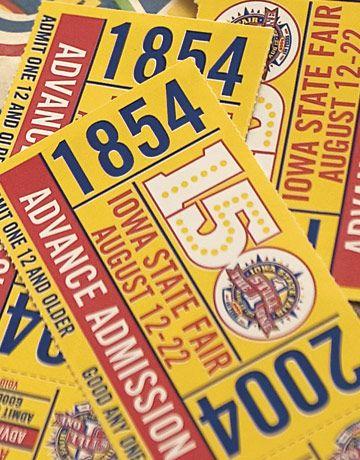 Iowa State Fair ticket stubs (via TixSix): Ticket Stubs, The Moin, Ticket Vintage, Fairground Ticket, Admiss Ticket, Invitations Ideas, Flyers Ideas, Fair Ticket, Commemor Ticket
