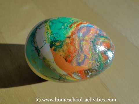 Marbling plastic easter eggs. Pretty simple Can be used as Dinosaur eggs too.