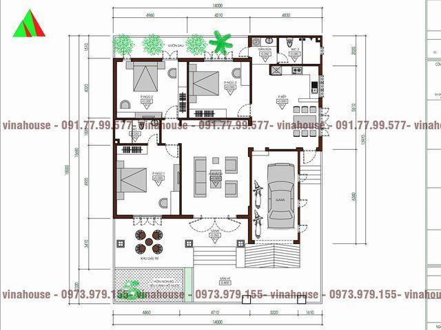 Mẫu thiết kế nhà cấp 4 mái thái 3 phòng ngủ 14×14 có gara được các kiến trúc sư cty Vinahouse thiết kế cho gia đình anh Thảo trên lô đất 14×18 ở tỉnh Vĩnh Phúc. Đây có thể nói là mẫu biệt thự trệt đẹp bởi sự đầy đủ công năng sử dụng đồng ...