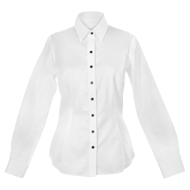 A white, cotton shirt gets understated elegance from a bit of sheen, a figure-skimming shape and black tuxedo buttons. The seasonless fabric makes it the perfect foundational piece. http://www.byariane.com.au/Louka-Tuxedo