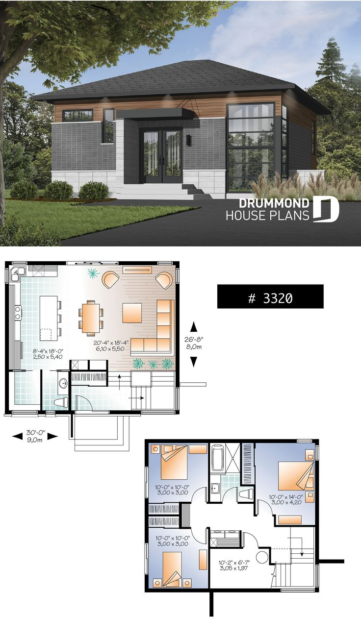 Small 3 Bedroom Budget Conscious Modern House Plan Open