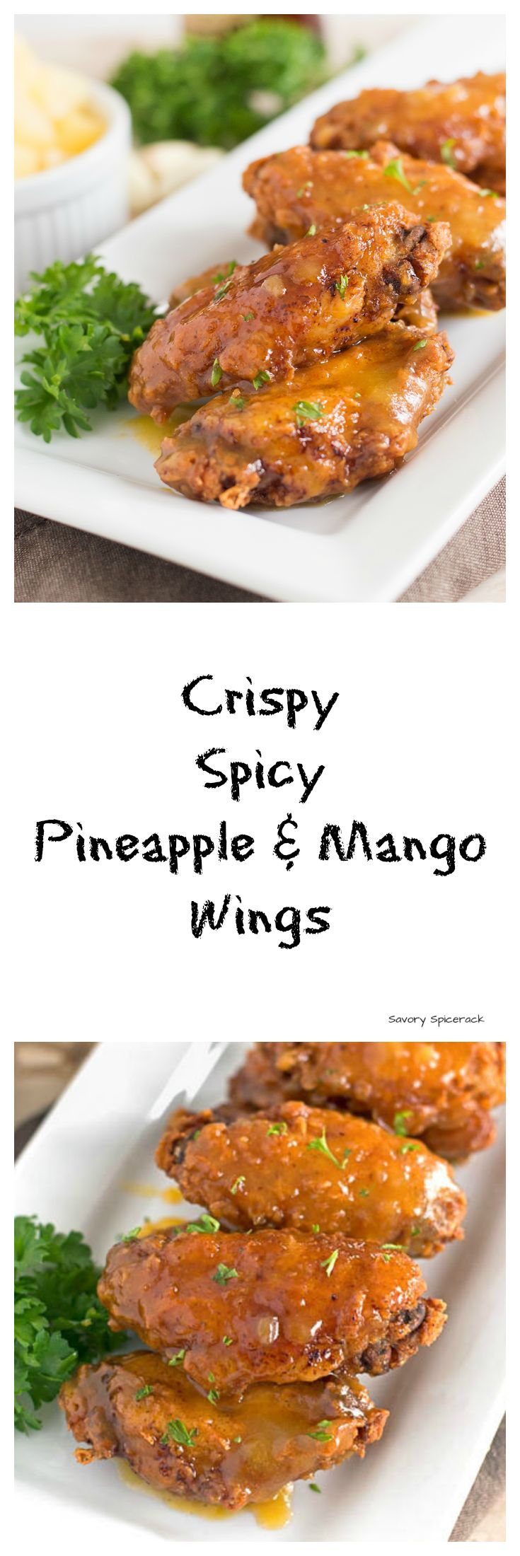 Crispy... Sweet... Tangy... Buttery.... Garlicky.... Yep that's what these Spicy Pineapple and Mango Wings are all about. Plus They're a great party food!