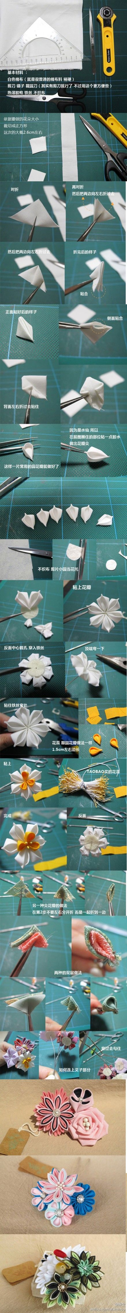 Kanzashi tutorial. Narcissus flower. Supplies: six white squares, 3 yellow squares, fabric glue (or Nori rice paste), 1 white felt circle, 1 length of florist wire (or similar), yellow stamens (aka pips), pliers, scissors and tweezers
