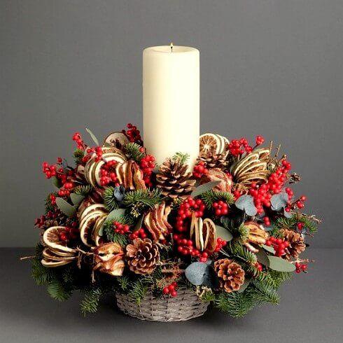 Ароматная корзинка станет отличным дополнением праздничного стола и создаст настоящее новогоднее настроение! В составе живые еловые лапы, шишки, ягоды илекса и цитрусовые.