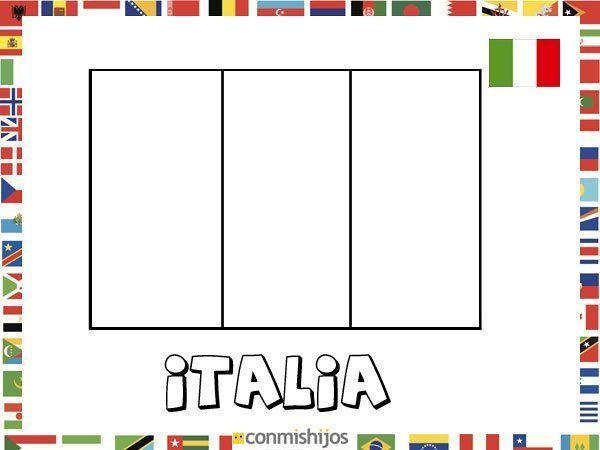 Bandera de Italia. Dibujos de banderas para pintar
