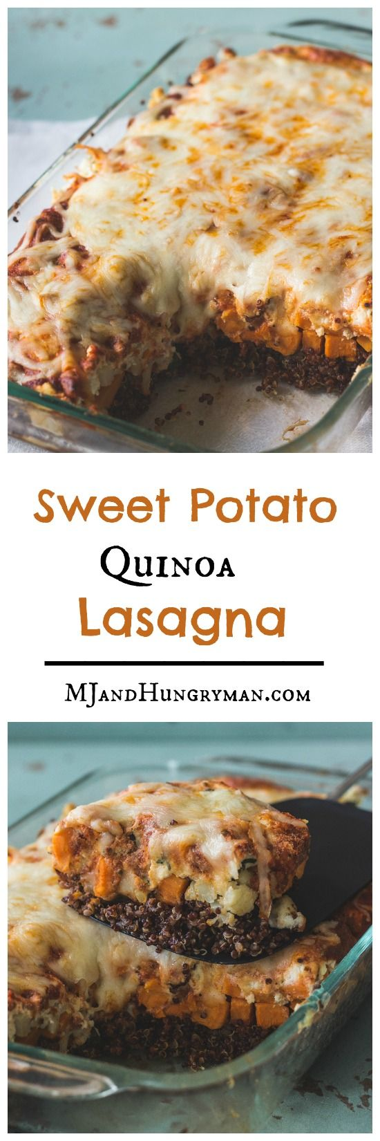 Vegetarian Sweet Potato Quinoa Lasagna - requires no boiling of noodles and the assembly couldn't be easier! // The Adventures of MJ and Hungryman