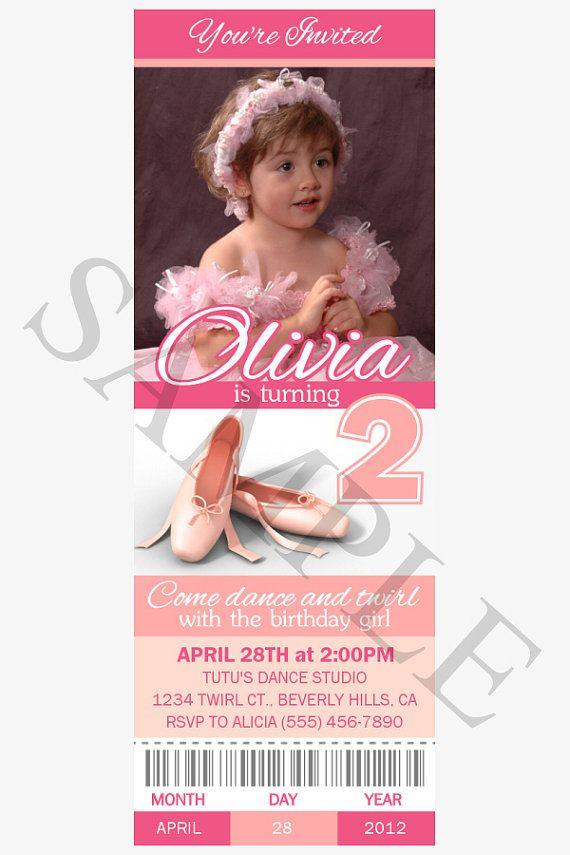 BALLET TICKET INVITATIONS Ballerina Birthday Party by nowanorris, $9.00