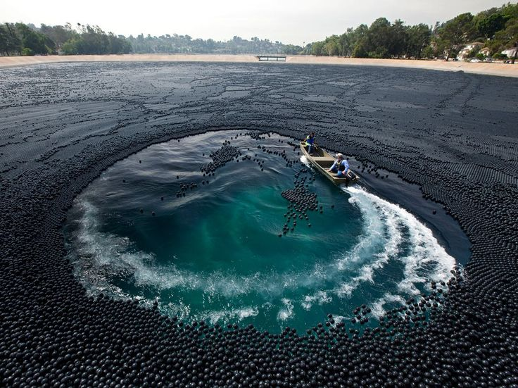 In 2007, high levels of bromate—a carcinogen formed when bromide and chlorine react with sunlight—were found in Los Angeles's Ivanhoe Reservoir. Today three million black plastic balls help deflect UV rays.: The National, Photos Gallery, National Geographic, Los Angeles, Los Angels, Plastic Ball, 60, Black, Ivanhoe Reservoir