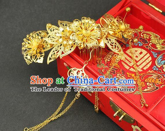 Asian Chinese Ancient Style Hair Jewelry Accessories Wedding Tassel Hair Comb, Step Shake Hanfu Xiuhe Suits Bride Handmade Hair Sticks for Women