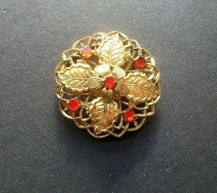 Alter Blüten Dressclip goldenes Metall roter Strass Vintage Shabby Chic