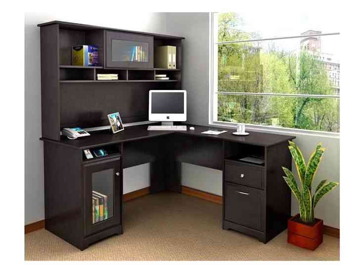corner black wooden desks with drawers and hutch having glass door on brown rug in grey study room fascinating collection of small desks with drawers shows