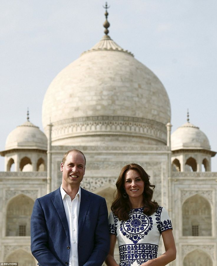 William and Kate arrive at the Taj Mahal and pose on the same bench where his mother sat during her iconic visit to the Indian monument 24 years ago