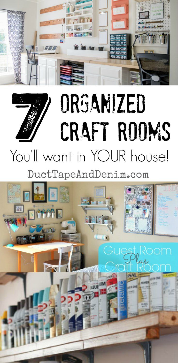 7 organized craft rooms you'll want to have in your house! See more craft organizational ideas on DuctTapeAndDenim.com