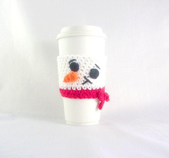 Snowman Travel mug sleeve / Red scarf  / coffee by PrairieLoops