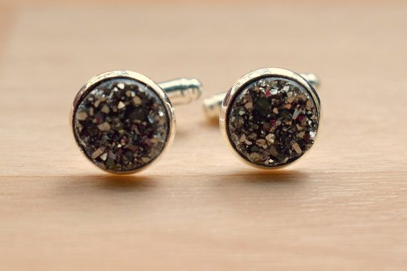 Gray Silver Druzy Cuff Links  Cuff Links For Groom by SkadiJewelry