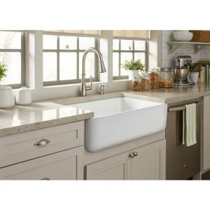 SINKOLOGY Bradstreet Reversible Farmhouse Apron Front Fireclay 30.5 in. Single Basin Kitchen Sink in White SK400-30FC at The Home Depot - Mobile