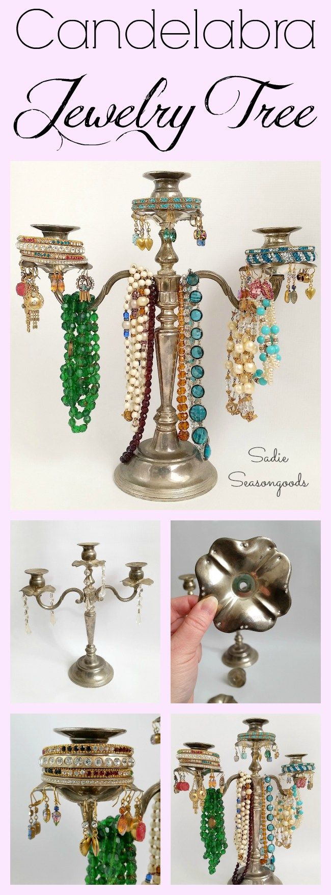 A vintage silver candelabra from the thrift store is *easily* repurposed as a gorgeous, elegant, and sturdy jewelry tree for all of your prettiest accessories! Arms to hold necklaces, candlesticks for earrings to dangle from, and platforms for nesting bangles- perfectly stunning and a fun thrift store upcycle DIY. #SadieSeasongoods  www.sadieseasongoods.com