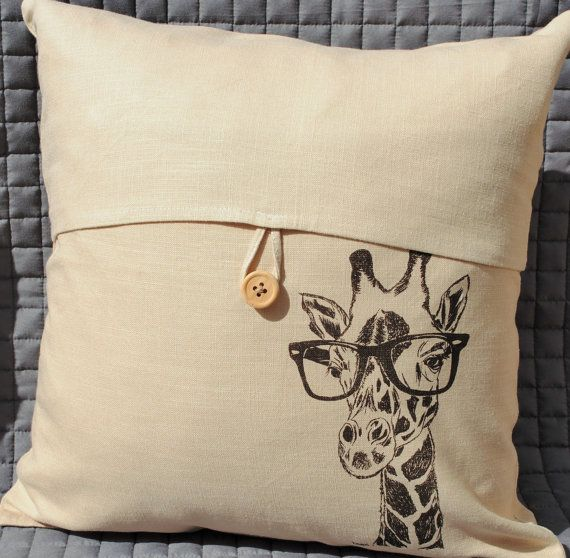 Slip Pillow Cover African Safari Home Decor Hand Screen Printed Linen Blend Couch Pillow Case Whimsical Giraffe Print