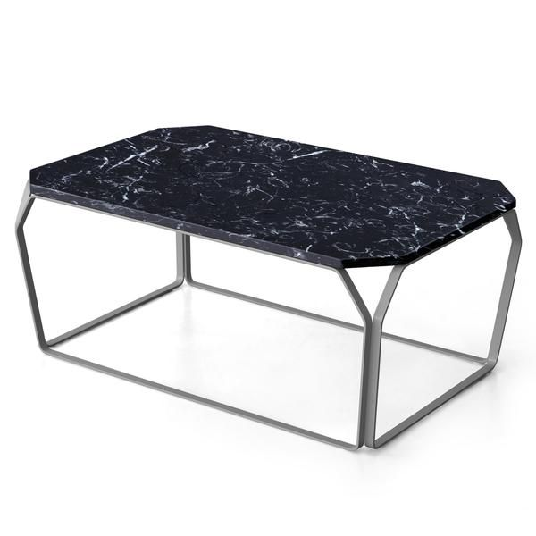 Reminiscent of a faceted gemstone, MEMEDesign's Marmo 3 coffee table combines polished white or black marble atop a slim metal frame, in 15 colour choices.